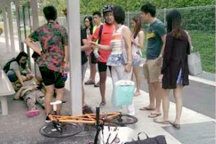The 65-year-old woman was carrying her 13-month-old grandchild when a cyclist rode into them outside her Pasir Ris condo. She fainted and was taken to hospital.