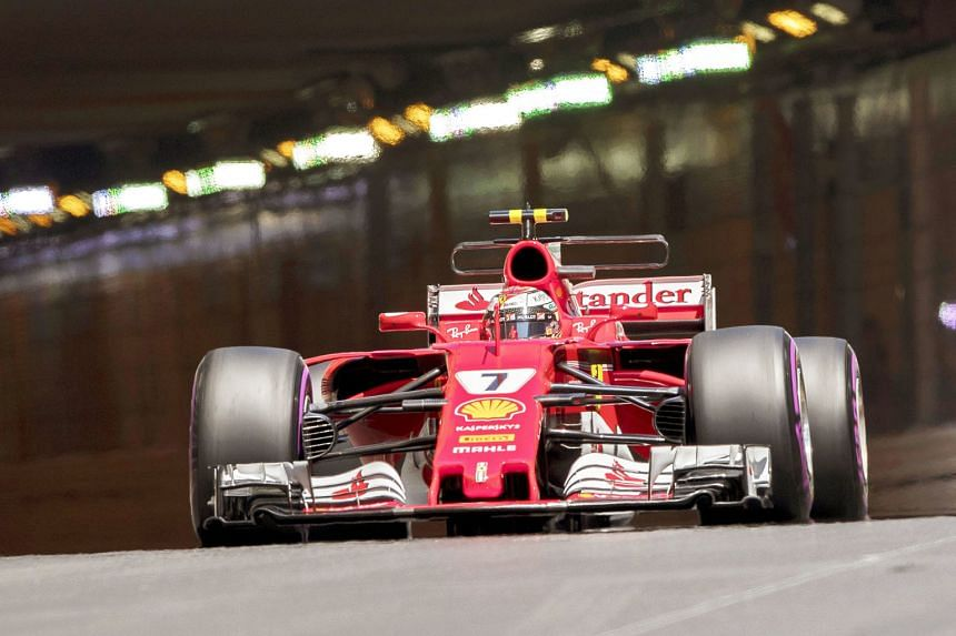 Ferrari driver Kimi Raikkonen emerges from the tunnel during yesterday's qualifying session for the Monaco Grand Prix. The taciturn Finn, whose reaction to his feat was predictably low-key, will share the front row with his team-mate Sebastian Vettel
