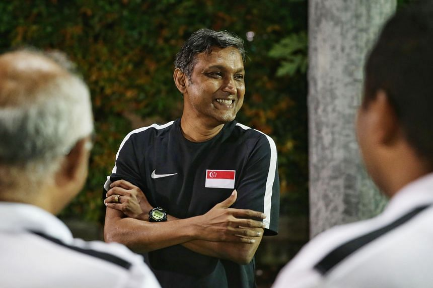 National coach V. Sundram Moorthy during a training session on Friday. He has called up four uncapped players for the games against Myanmar, Chinese Taipei and Argentina.