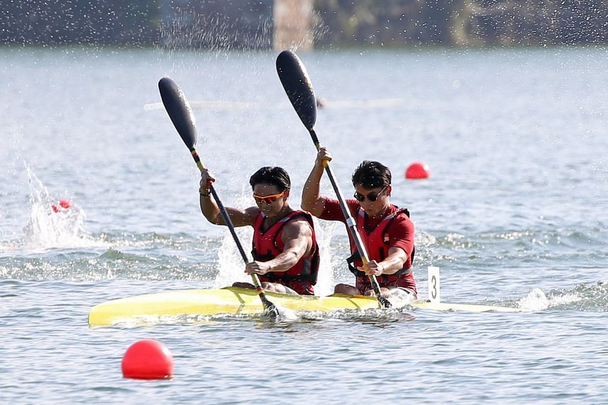 Andrew Lee (front) and Jonathan Chong on their way to the senior men's kayak doubles 200m title at the National Canoe Sprint Championships last Sunday. Running benefits people in a wide range of sports.