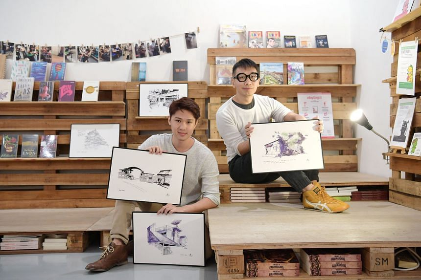 Booktique owner Anthony Koh Waugh (right) and illustrator Chen Yi Xi with the latter's sketches. The store's final event will be the launch of Mr Chen's art book Xi The World and an exhibition of his works.