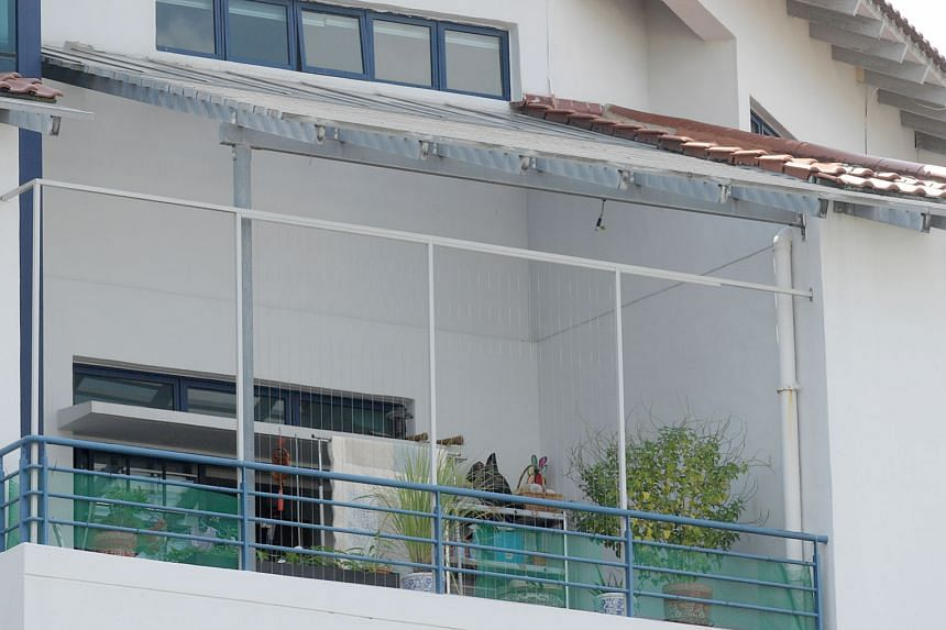 """The """"invisible"""" grilles at the balcony of a fourth-storey unit at the 19 Shelford Road condo. The owner was concerned his two young children would go through or over the condo's railings (in blue) and fall. Separately, 22 residents at Sunglade condo"""