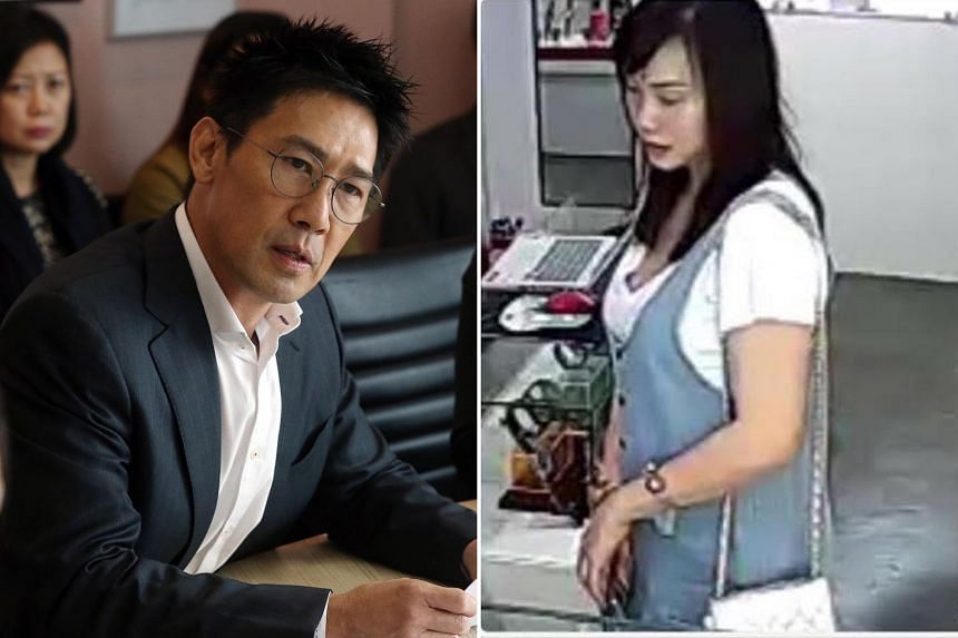 Celebrity Edmund Chen (with wife Xiang Yun in the background) says Ms Karen Ho Kai Lun (right) sent defamatory WhatsApp messages, while she is accusing him of defaming her via Facebook posts.