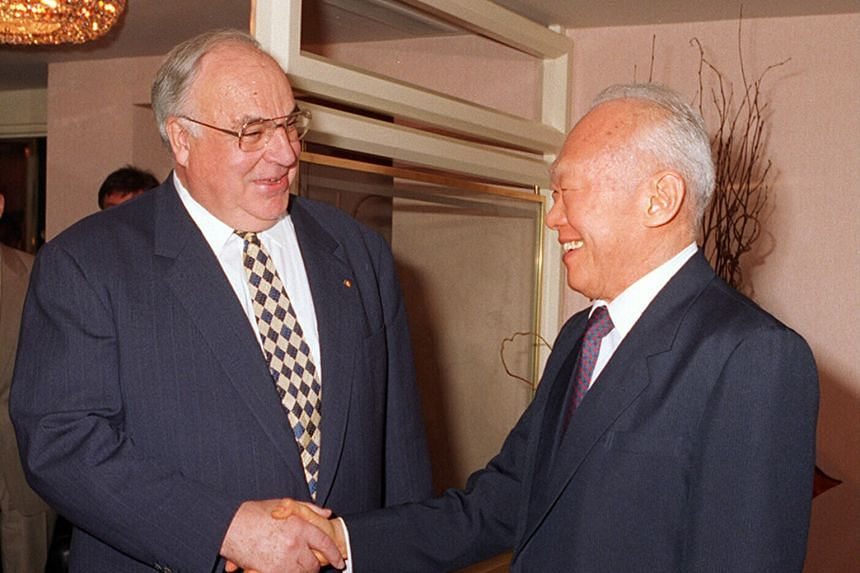 "Then German Chancellor Helmut Kohl meeting Senior Minister Lee Kuan Yew for a private working lunch in Singapore on Nov 20, 1995. Mr Lee had a personal relationship with Dr Kohl whom he lauded as a ""great German who reunified Germany, and as a greate"