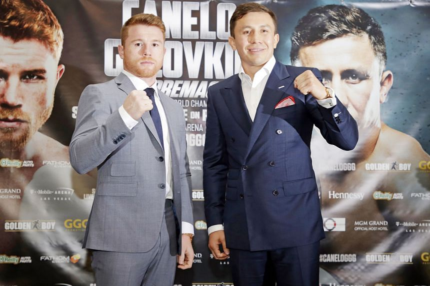 Gennady Golovkin of Kazakhstan and Mexico's Saul Alvarez (far left) posing for the media at a press conference ahead of their Sept 16 middleweight boxing clash at the T-Mobile Arena in Las Vegas, United States.