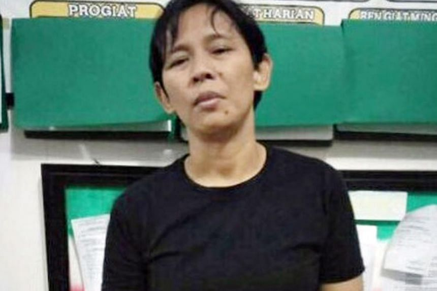 Top: Khasanah, 41, who is a suspect in the double murder of an elderly couple in Bedok, was arrested in Indonesia on Tuesday. She admitted to killing Mr Chia Ngim Fong, 79, and Madam Chin Sek Fah, 78. Above: Hotel Nanber owner Syartini says Khasanah