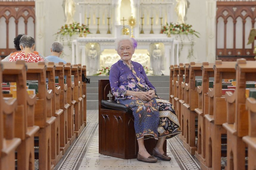 Madam Theresa Lai An Noi (above), 96, was brought to Singapore in 1936 from Penang by Father Michael Seet. She lived with the Seet family in one of the 11 houses on the church grounds. The Church of Saints Peter and Paul conducts most services in Eng