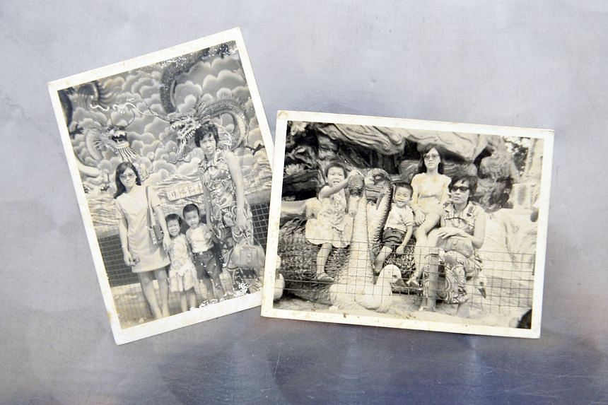 Photos from Madam Ng's collection, taken at an outing with a neighbour, who was not identified. Madam Ng (wearing pants) was a widow struggling to get by on her wages as a seamstress when she adopted Mr Tan, seen here as a boy. With them is also a young r