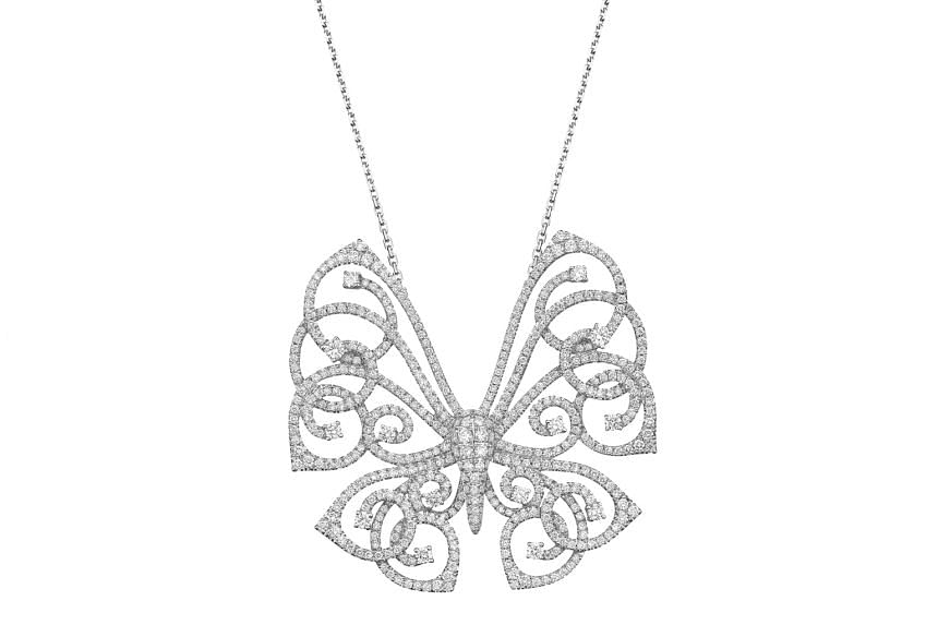 Germany: Diamond pendant worth 3.2 carats in 18K white gold, $11,118, by German label Stenzhorn.