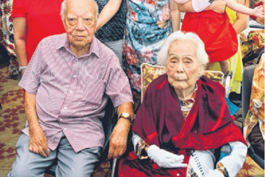 Mr Tan Guan Chay and his sister-in-law Chua Ming Niang at the celebrations.