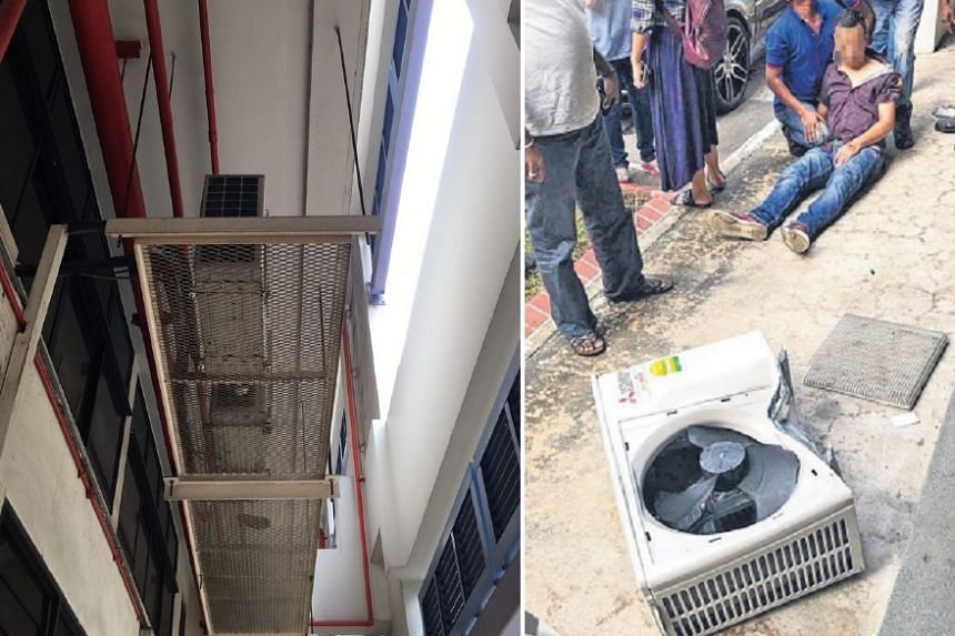 Mr Tun Win, a 41-year-old foreign worker from Myanmar, was injured by the falling air-con unit.