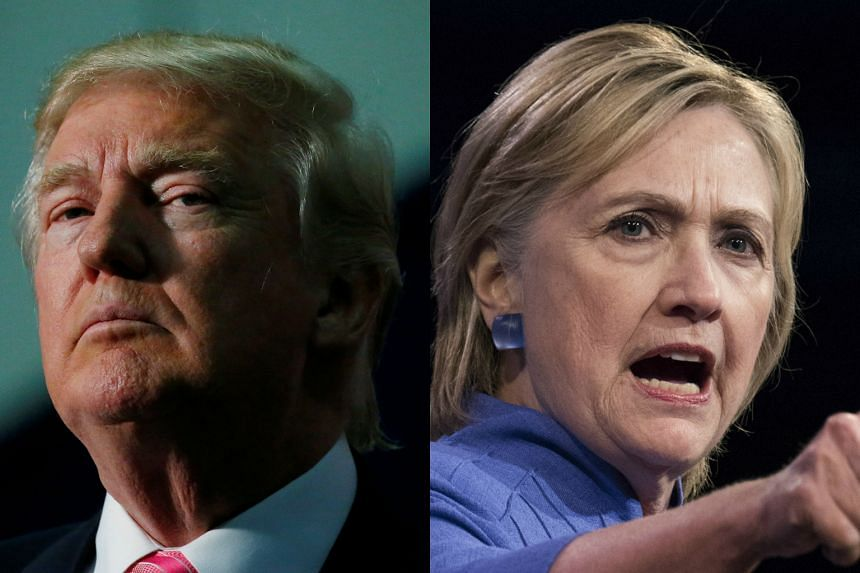 Republican presidential candidate Donald Trump (left) has pulled into an effective tie with Democratic rival Hillary Clinton.