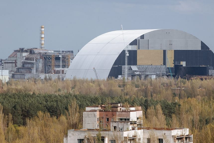 A general view of the construction of a new protective shelter which will be placed over the remains of the nuclear reactor Unit 4 of Chernobyl nuclear power plant.