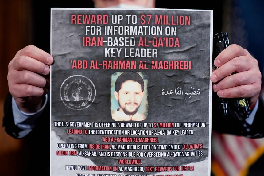 A reward poster is displayed at the National Press Club in Washington on Jan 12 2021