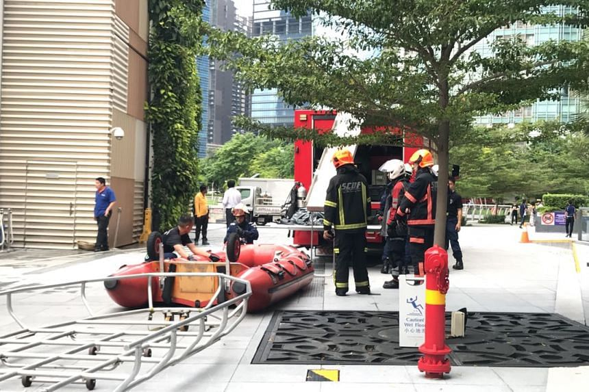 Police and SCDF officers carried out search and rescue operations near The Fullerton Bay Hotel.