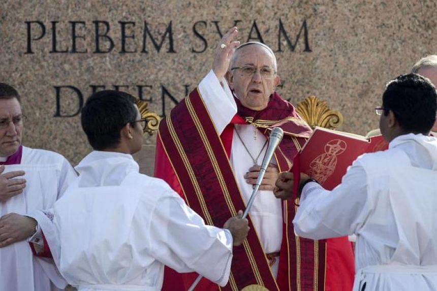 Pope Francis at the Palm Sunday Mass in Saint Peter Square in Vatican City, on March 25, 2018.
