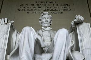 Former US President Abraham Lincoln's statue at the Lincoln Memorial is seen in Washington on March 27, 2015.