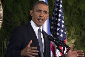 US President Barack Obama speaks during a bilateral press conference with the Philippines President Benigno Aquino (not in picture) at Malacanang Palace in Manila, on April 28, 2014. -- FILE PHOTO: AFP