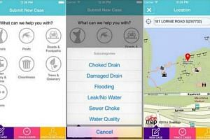Screenshots of the OneService mobile app launched by the Municipal Services Office on Jan 25, 2014. -- PHOTOS: IPHONE