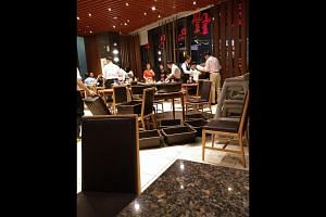 A leaking kitchen waste pipe in Jem sent foul-smelling water pouring down on diners at the Din Tai Fung restaurant on Thursday evening.