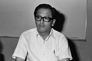Mr Phey Yew Kok, then president of NTUC, meeting the press on Singapore's first co-operative supermarket in 1973.