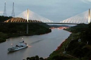 The famous Panama Canal, as seen at dusk, celebrates its 100th birthday in August this year.