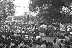 A big crowd at the Botanic Gardens on Aug 2, 1959, for the first performance of Aneka Ragam Rakyat or People's Variety Show, featuring songs and dances by different racial groups.