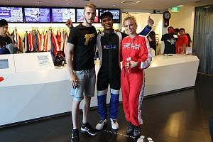 Manchester United goalkeeper David de Gea and pop-star girlfriend Edurne Garcia with iFly instructor Shakthi Subramaniam. For a player who loves diving acrobatically through the air, he did not enter the wind tunnel.