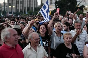 Protesters in front of the Greek parliament in central Athens.