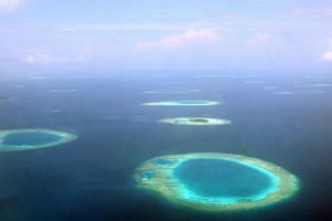 The islands of the Maldives as seen from the air.