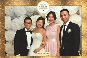 Mr Dylan Ong (left) and his wife Julia (second from left) at their wedding, with Mr Joshua Khoo and his girlfriend Airin Lee.