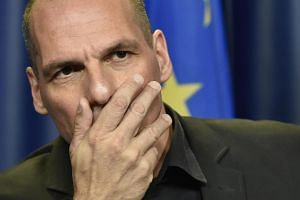 Greek Finance Minister Yanis Varoufakis at a press conference during a Eurogroup meeting at EU headquarters in Brussels.