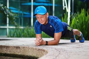 Mr William Gan, 69, demonstrating the plank, an abdominal exercise that builds core strength. The retiree suffered years of pain from degenerative discs and found relief with the exercises he was prescribed when he sought help at Changi General Hospi