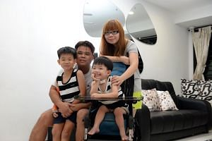 Six-year-old Jarren Ng with his mother Dawn Lee, father Kelvin Ng and elder brother Junius. Jarren has congenital hypomyelinating neuropathy, a rare nerve disorder that affects his ability to walk and grip things. He has already been through 14 opera