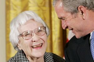 Harper Lee (left) with then-US President George Bush in a 2007 photo.