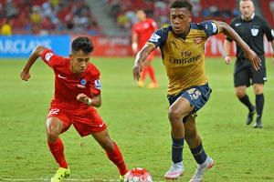 A Barclays Asia Trophy match between Arsenal and Singapore Select XI at the Singapore Sports Hub on July 15 2015.