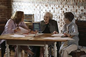 American author Harper Lee (centre) speaking with documentary filmmaker Mary McDonagh Murphy (left) and family friend Joy Brown (right) prior to the publication of Go Set a Watchman.