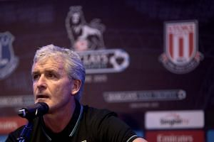 Mark Hughes speaks to journalists at a press conference ahead of the Barclays Asia Trophy soccer tournament in Singapore on July 14, 2015.