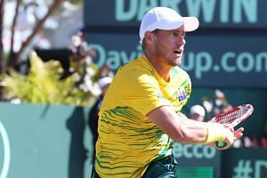 Australia's Lleyton Hewitt at the Davis Cup quarter final between Australia and Kazakhstan held at Marrara Sports Complex Darwin, Northern Territory, Australia on July 19, 2015.