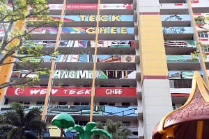 A block in Teck Ghee that has been decorated for SG 50.