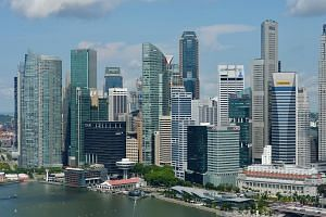 Skyline of the Singapore Central Business District (CBD).