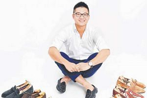 Mr Abraham Leong with some of his dress shoes.
