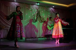 A North Korean band performing for tourists at a hotel in Hunchun, in northeast China's Jilin province.