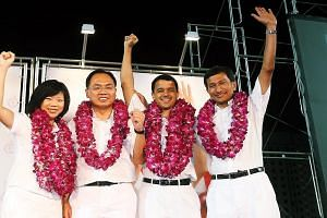 Of the two existing four-member GRCs, only Holland-Bukit Timah GRC will remain the same. At left, its MPs at the 2011 General Election (from left) Ms Sim Ann, Mr Liang Eng Hwa, Mr Christopher de Souza and Dr Vivian Balakrishnan.