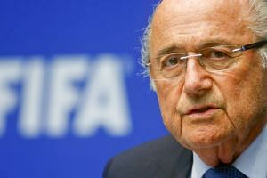 Sepp Blatter addressing a news conference after a Fifa meeting in Zurich.