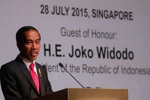Indonesia president Joko Widodo giving a keynote speech at the Singapore-Indonesia Business Dialogue on July 28, 2015.