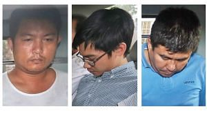 (From left) Myanmar nationals Phyo Min Naing, Yae Wynnt Oaung and Singapore permanent resident Zaw Min Hlaing have been charged over a murder plot.