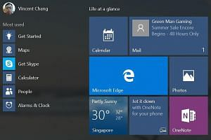 Clockwise from above: The facelifted Windows Store; the Start menu with a left panel showing frequently used apps, File Explorer and the revamped Settings apps; Microsoft's alternative to Flipboard; and Action Center, which displays notifications fro