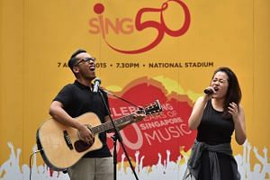 Resorts World Sentosa (RWS) got a sneak preview of the upcoming Sing50 concert on June 20, 2015, when visitors were treated to performances by five young ChildAid artists, including Mr Mohammad Zaini Khusin (left) and Ms Faith Ng, who will be appeari