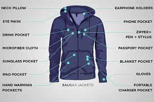 """Designed by Chicago-based start-up Baubax, the jacket has gone viral as """"the Swiss Army knife of travel wear""""."""